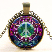 Hot selling 2015 newest tree of life peace logo necklace art picture retro chain glass cabochon necklace jewelry
