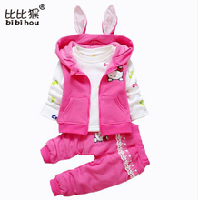 Cheap Cartoon Hello Kitty Infants Newborn Clothing Set Baby Girls Suit 3PCS Coat + Tshirt + Pants Children Cute Princess Toddler