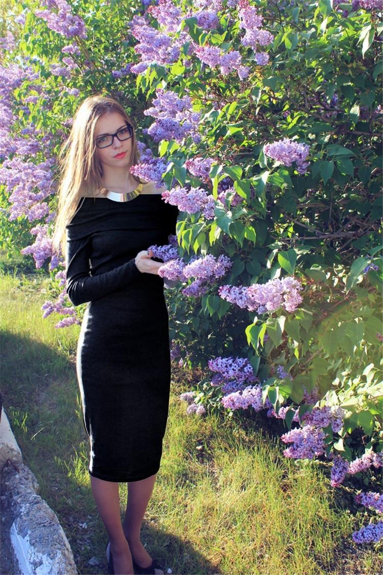 2017 Summer & Autumn Women floral off shoulder Dress Black Long Sleeve Sexy Party Dress robe femme Bodycon Office Dress Vestidos 10