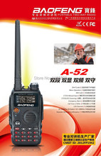 DHL Freeship+BaoFeng/pofung A52 A-52 cheap Walkie Talkie Interphone DualBand Transceiver 136-174Mhz & 400-520Mhz Two Way Radio