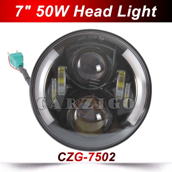 CZG-7502 7 inch 50W High/Low Beam led Headlight with white+amber DRL 7 led headlamp Projector Headlight For Jeep Wrangler 4x4<br>