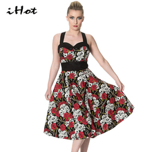 IHOT 2017 Summer Vintage Retro Skull Rose Floral Printed Rockabilly Skater pin up swing dress Plus size 4XL 5XL vestido de festa(China)