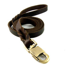 harness dog pet Braided Real Leather Dog Leash K7 Walking Training Leads for German Shepherd 2.5cm width dog with leash
