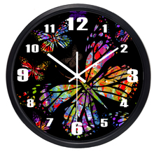 Colorful butterfly Wall Clock Fashion Mute Large Home Wall Clock Personalized Glass Quality  Clock