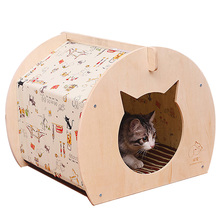 Ger Carton Design Pet Kennels,Summer High Quality DIY Wooden Dog or Cat Tent Wood Soft Dog House Indoor for Small Dogs Bed