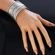 Fashion New Jewelry High Quality Bracelet Punk Silver Or Gold Wire Opened Wide Cuff Bangle For Women Metal Cuff Bangle