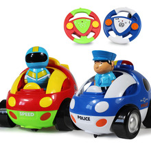 Cartoon Children RC Cars Police Poly Robocar Electric With Musical Light Mini Cars Automobile Race Children birthday Gift #EA(China)