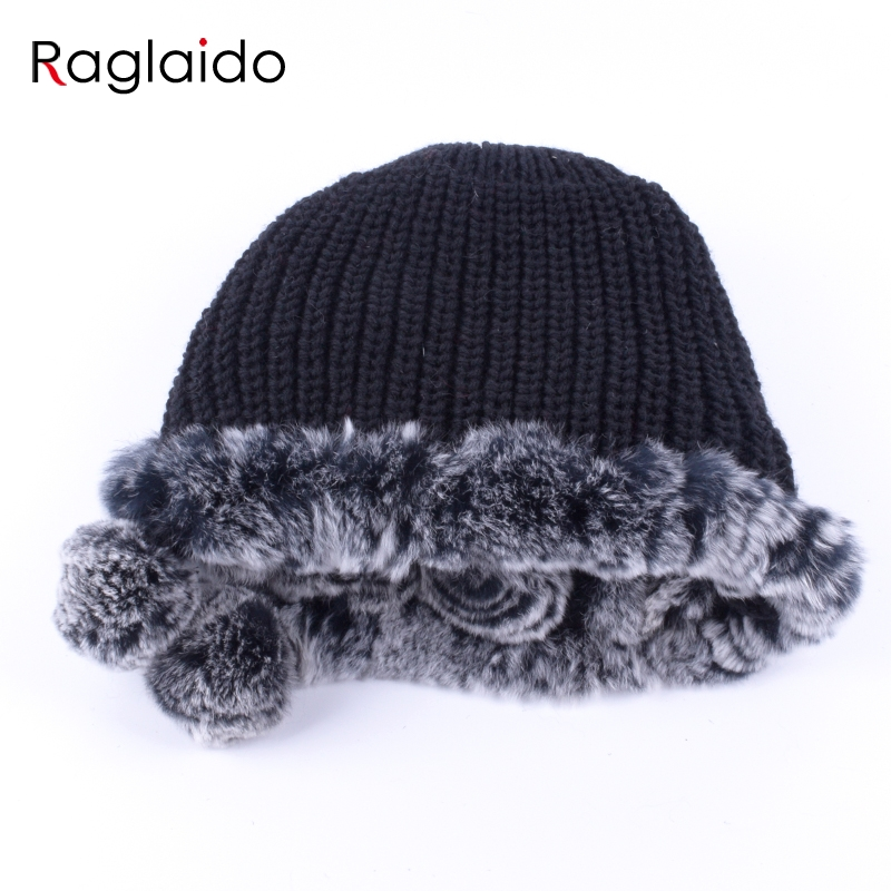 Raglaido winter hats for girls women's fur hat real rex rabbit Cap floral Knitted Hat with balls skulls beanies 55-59cm LQ11280