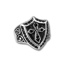 Top Fashion Stainless Steel Black Rhinestone Crystal Noble Knight Shield Cross Finger Ring Classic Jewelry Gift New 2016 (A1097)