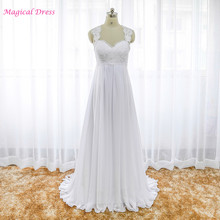 Empire Lace Maternity Bohemian Wedding Dress Backless A Line Chiffon Bridal Gown for Pregnant Women Robe Mariage W4146