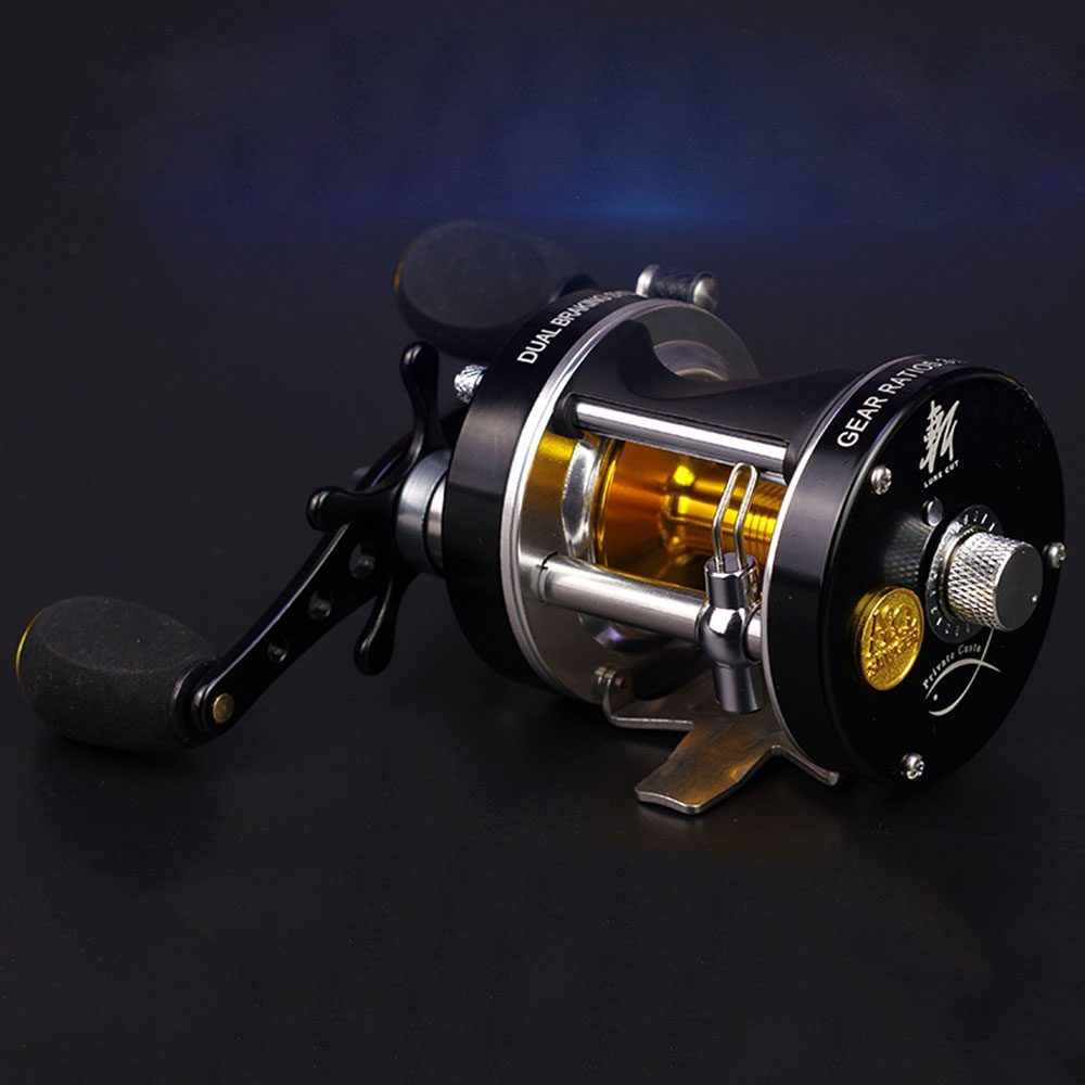 Double centrifugal brake 5.2:1Corrosion-resistant bearings fishing reel spinning metal Right Left Hand Bait Casting Fishing Reel<br>
