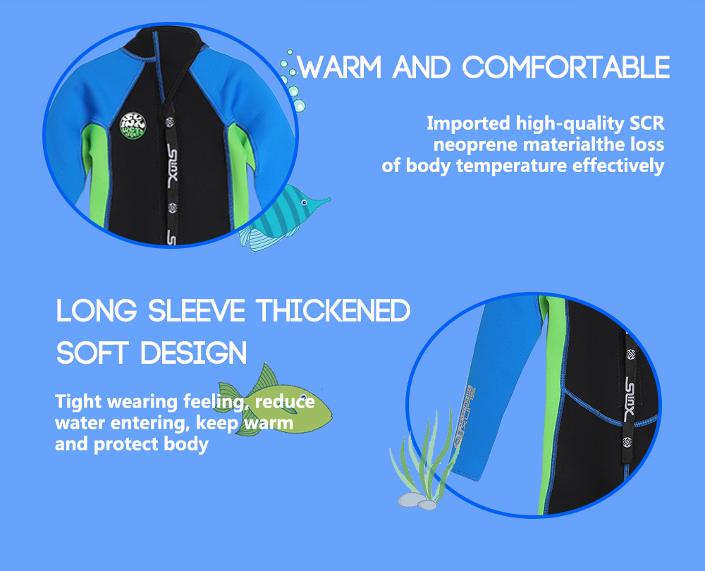 SLINX 1616 Long Sleeve Neoprene Wetsuit Child One-piece Swimsuit