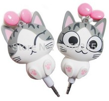 Cheese cat cartoon headphones earphones automatic retractable fone de ouvido portable music headset gift earphones for kids