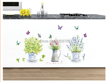 Wall stickers wholesale JM7299 butterfly vase stickers living room decorative background wall stickers shop glass tile sticker(China)