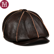 2017 Brand Genuine Cow Leather Hat Cap Headgear Cowhide Warm winter cotton men padding baseball cap hat High quality(China)