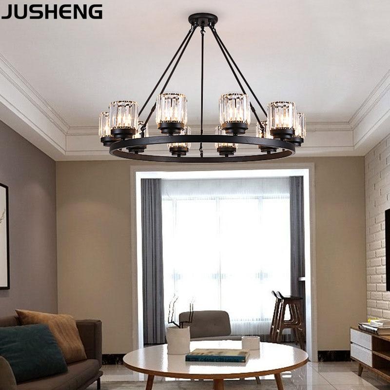 JUSHENG Modern LED crystal chandelier E27 bulb 3/6/8/10 head retro hotel restaurant bedroom living room lighting wrought iron ho