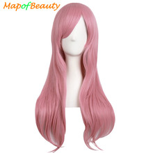 "MapofBeauty 28"" Long Curly Cosplay wig Blonde Black Brown Pink Fake Hairpiece Hairstyle Synthetic Hair Natural Wigs For Women(China)"