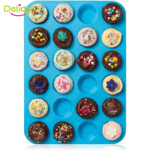 Delidge Mini Muffin Puncakes Biscuit Pans 24 Cupcakes Silicone Mold Cups Mold Non Stick Tray Bakeware Baking Tools(China)