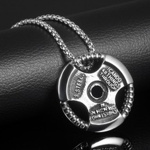Train Hard Metal Weight Plate Barbell Dumbbell Pendant Link Necklaces Fashion Stainless Steel Men Jewelry Powerful Accessories