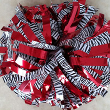 "1Piece Cheerleader Pom poms 6"" Baton Handle Metallic Red Black White Zebra Mixed Professional Competion Poms 180g Custom Color"