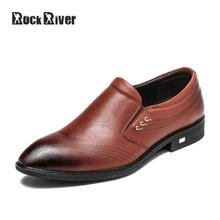Rock River 2017 European Genuine Leather Mens Dress Shoes Pointed Toes Men Business Shoes Wedding Men Formal Shoes Leather(China)