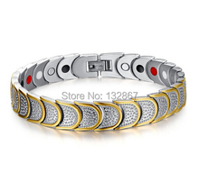 Charming Prevent allergies Unique design Silver Gold Magnetic Energy Germanium Power Bracelet Health stainless steel Men Jewelry