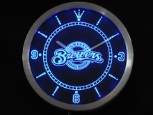nc0568 Milwaukee Brewers Neon Sign LED Wall Clock(China)