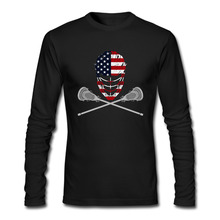 New Arrivals Men T Shirt Lacrosse Helmet Crossed Sticks Printed t-shirt Long Sleeve Casual Basic Tops Boy Cool Tee Shirts(China)
