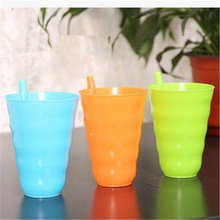 5pcs Retail Water Bottle Creative Colorful Plastic Straw Cup Cold Drink Cup Juice Cup Plastic Cups with Straw for Kid&Adult