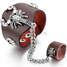 New Men's Punk Skull Scorpion Brown PU Leather Bracelet Link Chain Gloves Slave Wristband Ring with Cross Design 8.7 inches(China)
