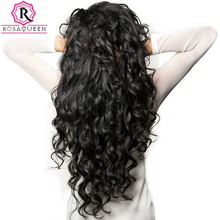 Brazilian Virgin Hair Loose Wave Human Hair Weave Bundles Natural Black Color 1 Piece Hair Extension Rosa Queen Hair Products(China)