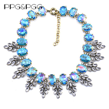 PPG&PGG New Luxury Brand AB Crystal Choker Pendants Fashion Big Chunky Collar Necklace Women Jewelry 2017(China)