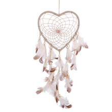 Feathers Beads Dream Catcher Home Decoration Car Hanging Ornament Heart Shape Feather Craft Art Decal Beautiful Dreamcatcher