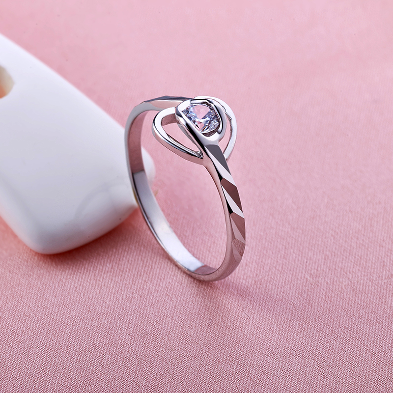 Dower Me 990 Sterling Silver Brilliant Heart-Shaped Diamond Ring Fine Jewelry Women Heart Shine Ring For Birthday Gifts 104(China (Mainland))