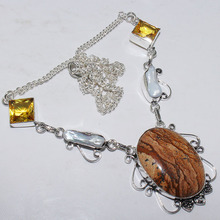 Picture Jaspers & Citrines Necklace Silver Overlay over Copper , 48.6 cm, N0992(China)