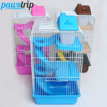 3-Level Plastic+Steel Wire Small Animal Hamster Playhouse Funny Wheel Bottle Slide Mouse Gerbil Cage Mouse
