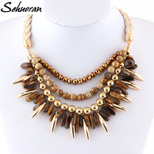 Sehuoran Natural Stone Necklaces Pendants Chunky Big Choker Necklace Crystal Vintage Collar Statement Jewelry For Chrismas Gift(China)