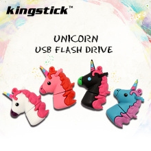 New style Cartoon Unicorn Pen Drive 64gb 32gb usb flash drive real capacity cute horse pendrive 4gb 8gb 16gb memory stick U disk(China)