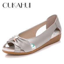 Summer Fashion Genuine Leather Ladies Sandals Women Cow Leather Hollow Flat Bowknot Butterfly-Knot Metal Plus Size Woman Sandals
