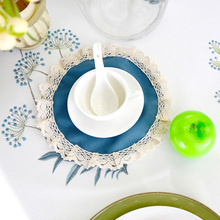 Modern Round Lace Placemats Table Blue Tablemats Elegant Doily Desk Accessories Fabric Lace Doilies