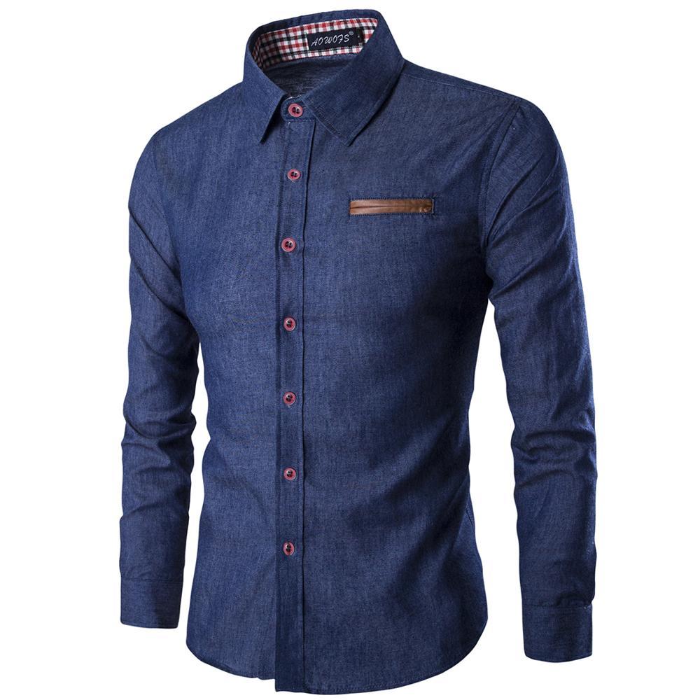 Men Shirt Pocket pu Leather Stitching 2018 New spring Shirt Long Sleeve Slim Fit Camisa Masculina Casual Male Shirts Model