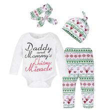 Autumn 4pcs Baby Outfits Set Toddler Boy Girl Long Sleeve Letter Print Bodysuit+Deer Snow Pants+Hat+Headband Infant Clothing Set(China)
