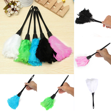 Multicolor Turkey Feather Duster Anti Static Dust Brush Black Plastic Handle Dusters For Home Cleaning Tools(China)