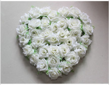 New Heart-shaped Rose Flower Disk Silk Love Wedding Decoration Artificial Flower Heart Lawn 40*40cm Size Carpet Decoration