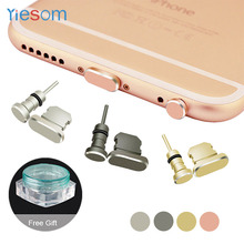 YIESOM Brand for iPhone 8 Aluminum Alloy Charging Port Earphone Jack USB Dust Plug Set for iPhone 8 7 Plus 6 6S 5S SE Dust Plug