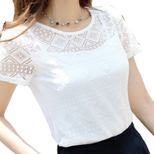 2017 Women Clothing Chiffon Blouse Lace Crochet Female Korean Shirts Ladies Blusas Tops Shirt White Blouses slim fit Tops(China)