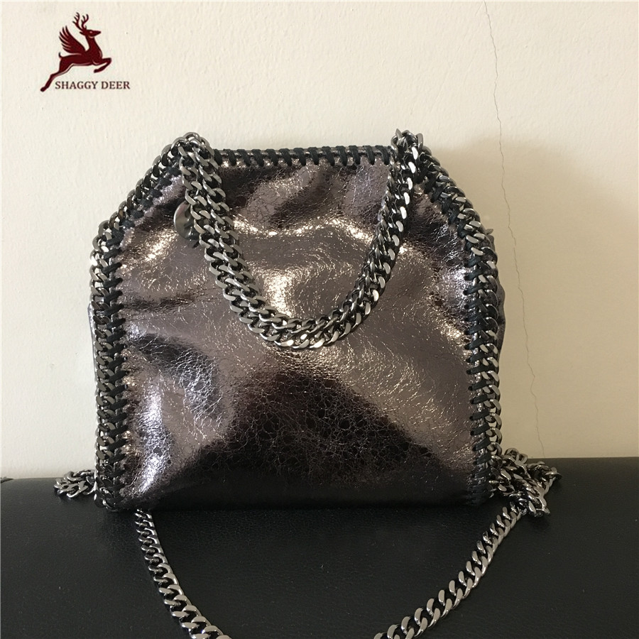 Exclusive Luxury Crack PVC Shaggy Deer Brand Faux Leather Mini 18cm Crossbody Quality Falabella Steel Chain Bag<br>