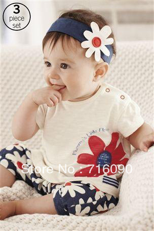 Free shipping 5sets/lot female child clothing triangle set  for summer (short-sleeve T-shirt +flower headband+pants) dr0010-14<br><br>Aliexpress
