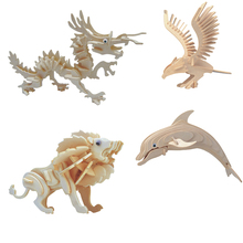 Hot sale the best quality 3D wooden Animal jigsaw puzzle toy educational wooden toys for DIY handmade puzzles Animal series