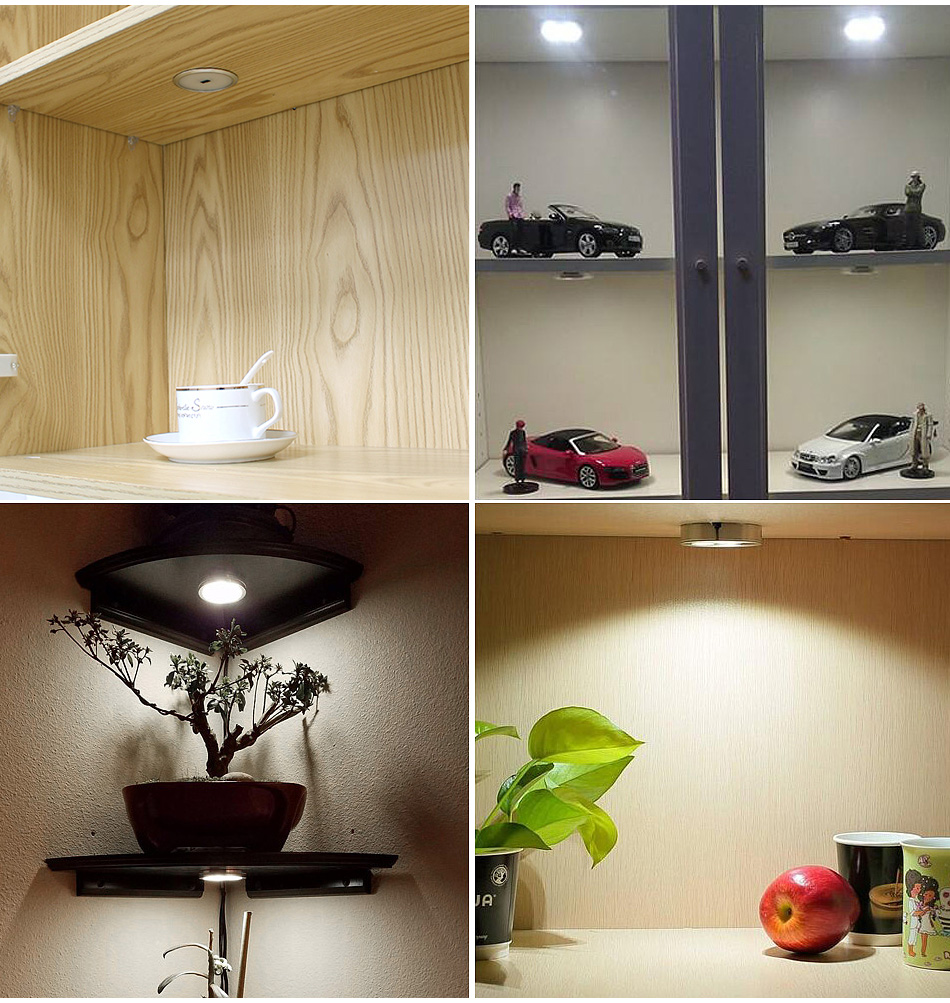 6PCS 2.5W LED Under Cabinet Lights Puck Light Ultra Thin Round Decorative Home Kitchen Hanging Case Cupboard Furniture lighting13